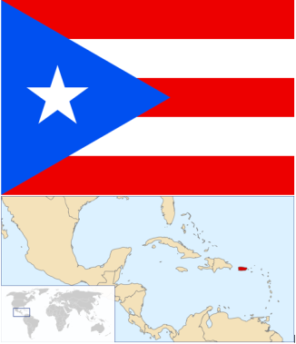 Flag and location of Puerto Rico