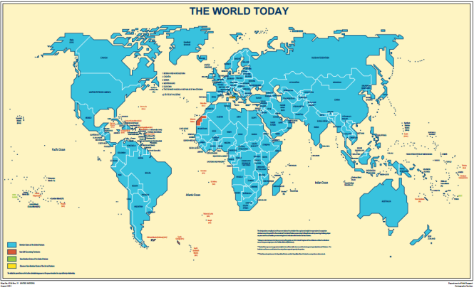 Territories considered as non-self-governing territories by the UN today - Source: UN