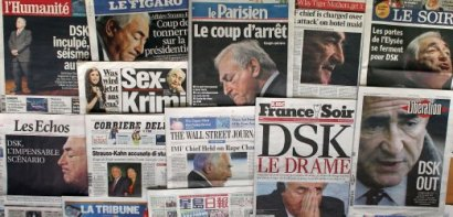 Collage of cover pages of newspapers about scandal of Dominique Strauss Kahn