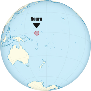Nauru, in the middle of the Pacific Ocean